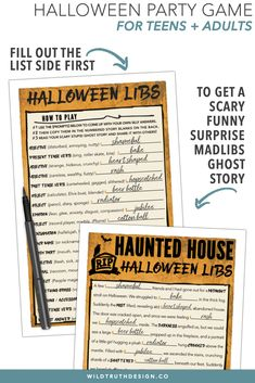 hilarious halloween mad libs game adults teens haunted house story printable h109 printable party games wildtruthdesign