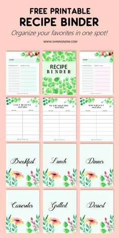 Organize your favorite meals in one spot. This Recipe Binder is the perefect organizer to use to keep your best recipes! #recipebinder #recipe #freeplanner #freeprintables Mom Planner, Free Planner, Printable Planner, Planner Template, Binder Organization, Recipe Organization, Printable Designs, Free Printables, Printable Scrapbook Paper