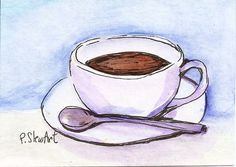 ACEO Coffee Cup WC Art Still Life Cuppa Joe Illustration Painting Penny StewArt #Miniature