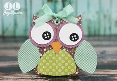 Create cute owl treat boxes with a Silhouette Cameo, papers from SEI and Glue Dots! Thanks to Joy from @Jò in Wonderland Joyslife for creating this cute little Owl! #GlueDots #partyfavors #babyshowerideas #SEI #SilhouetteCameo #Owl #3D #LoriWhitlock