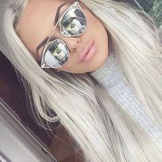 "So ""Real"" Futuristic Metal Bar Top Mirror Split Lenses Women Sunglasses"