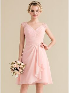 f6e5e1075b8 A-Line Princess V-neck Knee-Length Chiffon Lace Bridesmaid Dress With  Cascading Ruffles - Bridesmaid Dresses - JJsHouse
