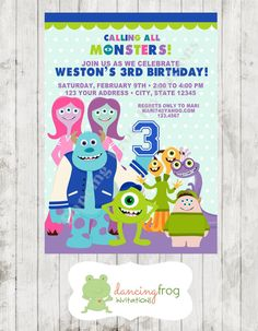 Monsters School Birthday Invitation - Custom Printed Birthday Invitation - by Dancing Frog Invitations