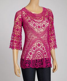 Look what I found on #zulily! Magenta Floral Crochet Three-Quarter Sleeve Top by IRE #zulilyfinds