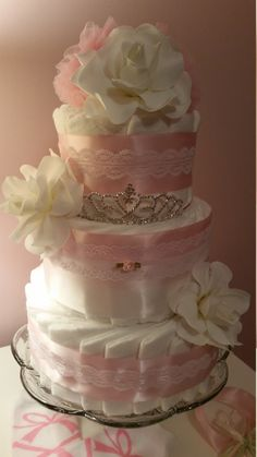 Tiara Diaper Cake Pink, White, Lace, Rose or Gardenia Option 3 Tier Couture