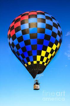 Bright Checkered Hot Air Balloon: See more images at http://robert-bales.artistwebsites.com/