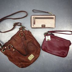 #Wristlets and #purses are an essential to take any #outfit to the next level! We have these #gorgeous #leather pieces from #fossil at a fraction of the price! {brown purse $45} {rose gold wristlet $30} {red wristlet $45} #conestogacollege #universityofwaterloo #wilfridlaurieruniversity #iloveplatoskw #platosclosetkitchener #fashionista #fashion #thrifty #thrifting #neutrals #rosegold | www.platosclosetkitchener.com