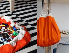 Cool idea for kids toy storage - fabric bags that you can hang on hooks.  How many tigers can I fit in each one?