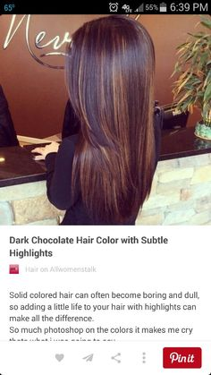 [ Trendy Hair Color - Highlights : Dark Chocolate Hair Color with Subtle Highlights - 29 Hair Inspirations for Changing up Your Style . Plum Hair, Brown Blonde Hair, Brunette Hair, Blonde Honey, Brunette Color, Honey Hair, Dark Chocolate Hair Color, Chocolate Hair With Caramel Highlights, Dark Hair With Highlights