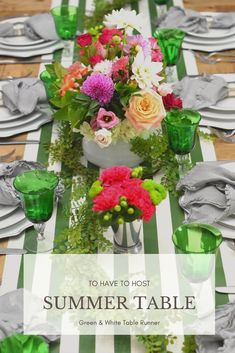 Sumer tablescape. Summer table decor. Summer party decor. Summer dinner party. Summer Table Decorations, Table Runners, Tablescapes, Kitchen Dining, Celebration, Inspire, Entertaining, Dinner, Holiday Decor