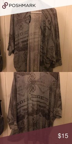 Tribal Print Cardigan Semi-long half sleeved gray tribal print cardigan. Comfy and fitting Wet Seal Sweaters Cardigans