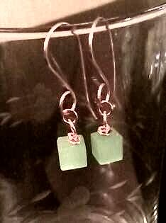 Green jade cubed beads/ rose gold wire earrings