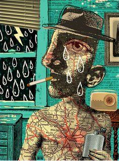 A collage by Chicago based artist & illustrator Michael Waraksa. via colectivo bicicleta Art Inspo, Kunst Inspo, Outsider Art, Psychedelic Art, Art And Illustration, Pop Art, Art Du Collage, Frida Art, Art Carte
