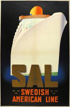 1935c SAL. Swedish American Line poster by Ake Rittmark