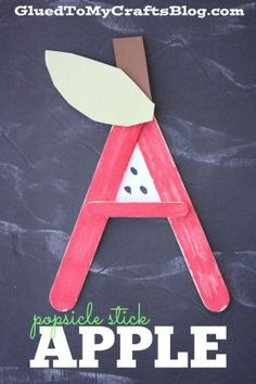 It's learning and craft time together into one! Check out our Popsicle Stick A is for Apple - Back To School Themed Popsicle Stick Kid Craft Idea Abc Crafts, Alphabet Crafts, Daycare Crafts, Letter A Crafts, Glue Crafts, Toddler Crafts, Apple Crafts, Alphabet Activities, Learning Activities