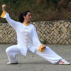 Chinese Cotton Clothes Taichi Uniform Suits Pajamas White & Yellow   OrientLegacy - Clothing on ArtFire
