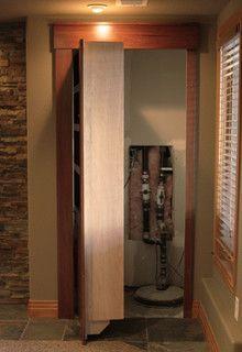 secret door to hide sump pump and water softener in basement - Google Search
