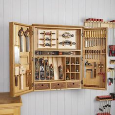 Woodworking is a job, for which one requires to work with precision and skill. Mistakes during woodworking may spoil the whole piece. In woodworking, there are some things, which should be done repeatedly. woodworking jigs are tools, Tool Storage Cabinets, Garage Tool Storage, Workshop Storage, Garage Tools, Garage Organization, Garage Ideas, Organization Ideas, Garage Workshop, Workshop Cabinets