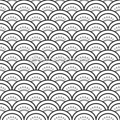 Traditional japanese waves ornament in black and white seamless pattern, vector — Stock Illustration #21351783