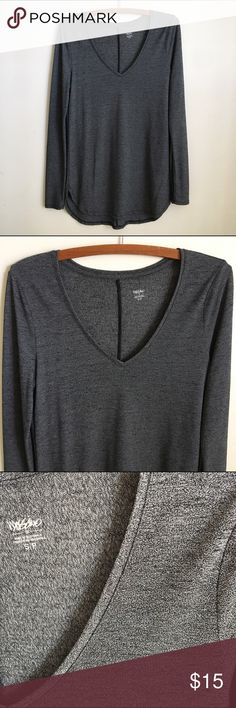 Mossimo V-neck Tunic Great condition! Cute v-neck tunic in a dark gray charcoal color. Long sleeves. Front length:  28.5 inches. Back length: 30.5 inches. Mossimo Supply Co Tops Tunics