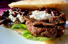grilled ostrich burger w/ biltong strips, feta cheese & red wine sauce Wild Game Recipes, Meat Recipes, Food Processor Recipes, Dinner Recipes, Biltong, Ostrich Meat, Feta, Wine Sauce, Food Dishes