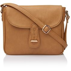 STELLA SATCHEL FOLDOVER SLING ($29) ❤ liked on Polyvore featuring bags, handbags, bolsas, purses, bags/purses, vegan purses, brown hand bags, vegan handbags, satchel handbags and tan handbags
