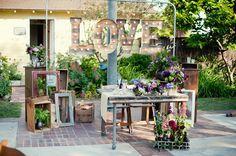Sweetheart table with signage // Purple Handmade California Wedding