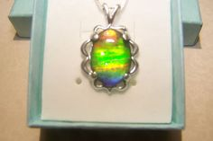 "AMMOLITE PENDANT 18X13mm  MOUNTED IN STERLING WITH 18"" STERLING CHAIN   #Pendant"
