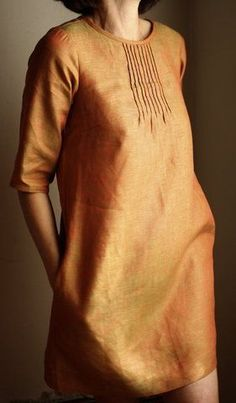 pintuck dress - saffron lovin it.this may be my favorite color ever.next to chocolate brown. Mode Style, Style Me, Kurta Designs, Mode Hijab, Couture, Linen Dresses, Indian Wear, Dressmaking, Dress Patterns
