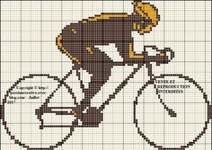 Grille gratuite point de croix : Cycliste marron et jaune Cross Stitch Cards, Cross Stitching, Cross Stitch Embroidery, Cross Stitch Patterns, Knitting Charts, Loom Patterns, Loom Beading, Le Point, Crochet Flowers