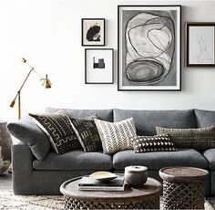 Gallery of restoration hardware introducing authentic african mud - restoration hardware african mud cloth pillows Living Room Grey, Living Room Decor, African House, African Interior, African Mud Cloth, Decoration, Restoration Hardware, Home Decor, Monochrome Interior