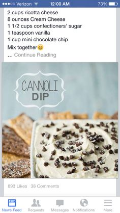 this turned out awesome - dipped Lorna Doone cookies in it! Cannoli Dip