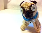 ODD PETS - FUG - Hand Crochet Pug: Vintage Button Eyes, sculpted name tag