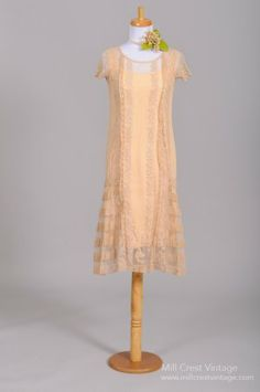 1920's Tea stained Sheer Lace Vintage Wedding Dress