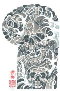Image result for japanese skull tattoo sleeve