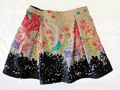 Ooh, pretty skirt! Echino fabric for maximum cuteness, elastic waist for maximum comfort.