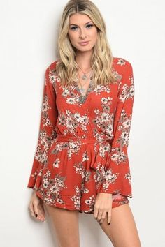 Rust With Flowers Romper