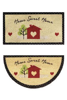 """Zerbino in cocco con fondo in vinile - Stampa """"Home sweet home"""". Disponibile in forma rettangolare e a mezzaluna."""