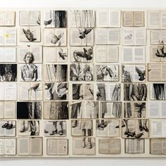 Paintings on vintage books by Ekaterina Panikanova. The Russian artist creates large mosaics on the wall using old books and then paints images on the pages inspired by the book's content. Collages, Collage Art, Illustration Arte, Instalation Art, Colossal Art, A Level Art, Gcse Art, Art Graphique, Altered Books