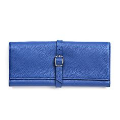 Blue Buckled Jewelry Roll | Full Grain Cobalt Leather