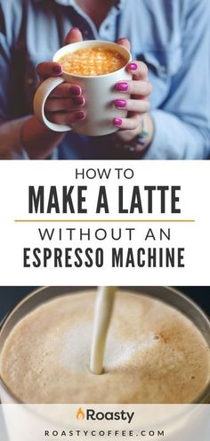 A latte is coffee made of espresso and steamed milk. Check out our guide on how to make a latte without an expensive espresso machine. It's easier than you think and costs far less than what you'd spend at your local coffee shop. Enjoy! #caffelatte #coff How To Make A Latte, How To Make Coffee, What Is A Latte, Latte Macchiato, Frappe, How To Steam Milk, Steamed Milk At Home, Latte Machine, Coffee Making Machine