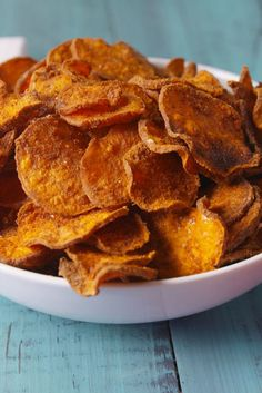 Slice the sweet potatoes as thinly as possible to maximize the crispiness potential!   Get the recipe from Delish.