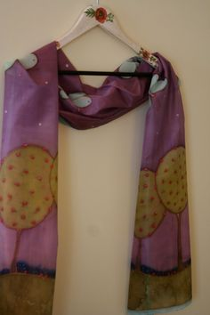 SALE Hand painted silk scarf OOAK purple violet light by SilkHome, $65.00