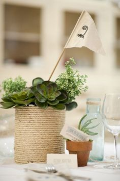 These Seaside Rope and Flag DIY Wedding Centerpieces are such an easy way to decorate your wedding tables. Full of texture and charm, these DIY centerpieces will keep your tables simple and chic. Plus, they'll also serve as your table numbers. Succulent Centerpieces, Vase Centerpieces, Wedding Centerpieces, Vases, Wedding Tables, Nautical Wedding, Diy Wedding, Nautical Rope, Wedding Ideas
