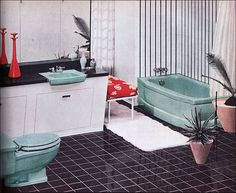 1957 Briggs Modern Bathroom - love the color combo!