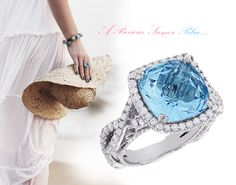Fine Gemstone Jewelry: This fabulous Blue Topaz Diamond Cocktail Ring showcases a magnificent 11 carat natural blue topaz and 1.3 carats of genuine diamonds. Featuring an elegant halo design and a fine craftsmanship, this lovely cocktail ring is available in 14K white, yellow and rose gold.