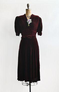 Rocamadour Wine Dress // Mulberry red velvet ruche dress; 1940s | Adored Vintage