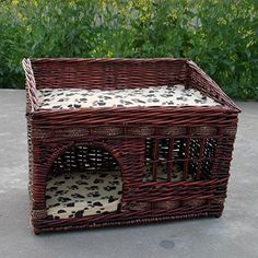 Loghot Pet Dog Cat Bed Waterloo Supplies with TwoTier House Wooden Dog Kennel for Sharing Large Brown * More info could be found at the image url.