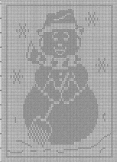 Crochet Snowman, Christmas Crochet Patterns, Filet Crochet Charts, Free Crochet, Fillet Crochet, Filets, Thread Crochet, Counted Cross Stitch Patterns, Sewing Clothes