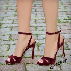 Jelgava Süet Bordo Çapraz Bantlı Topuklu Ayakkabı